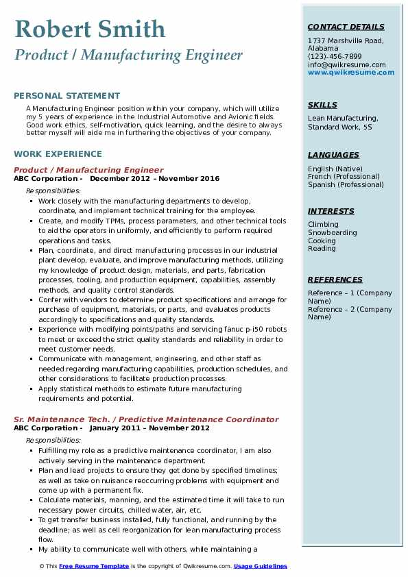 Product / Manufacturing Engineer Resume Example