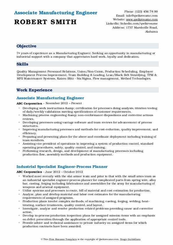 Associate Manufacturing Engineer Resume Example