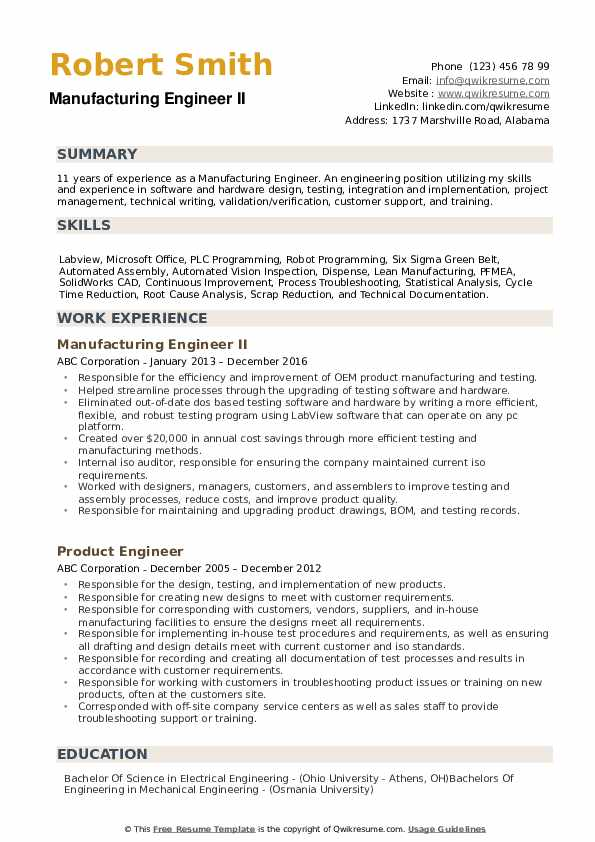 Manufacturing Engineer Resume Samples Qwikresume