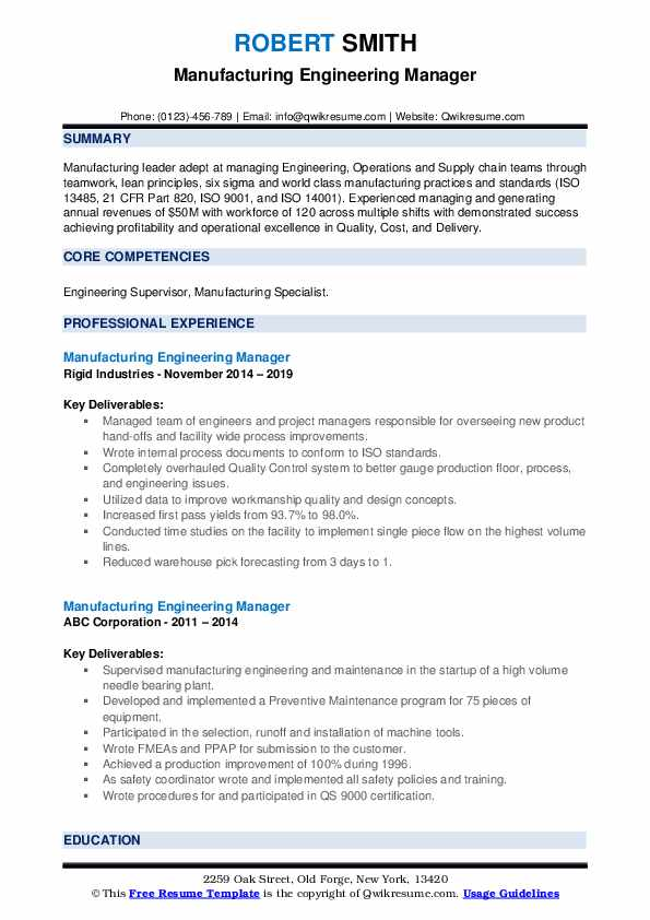 Manufacturing Engineering Manager Resume example