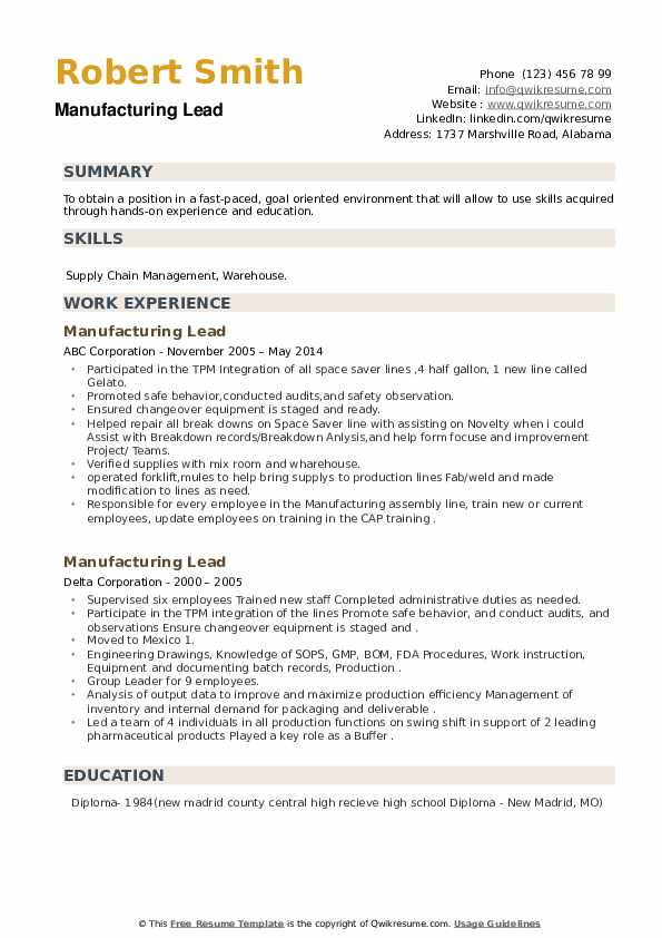 Manufacturing Lead Resume example