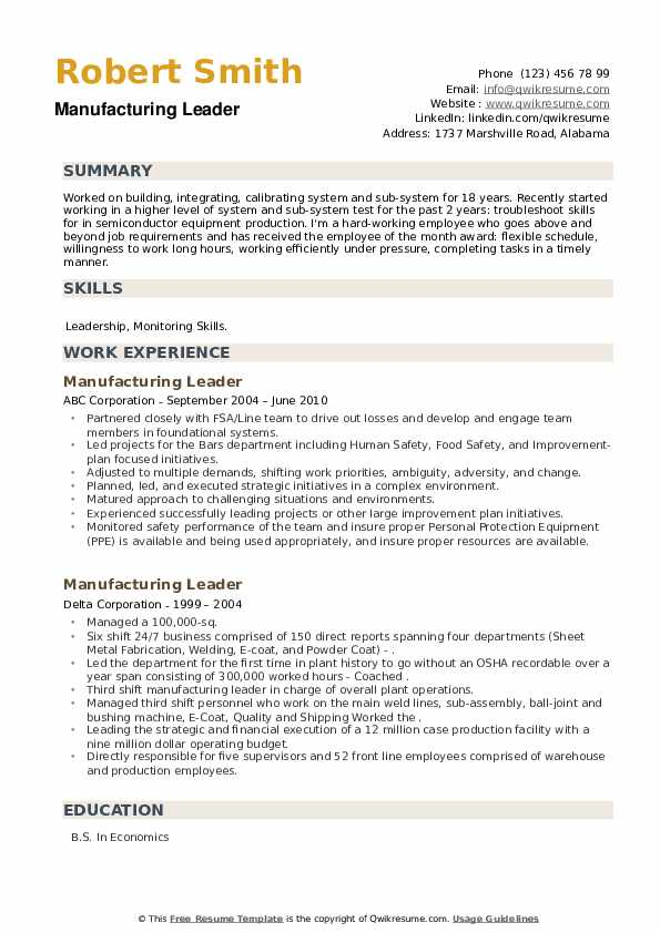 Manufacturing Leader Resume example