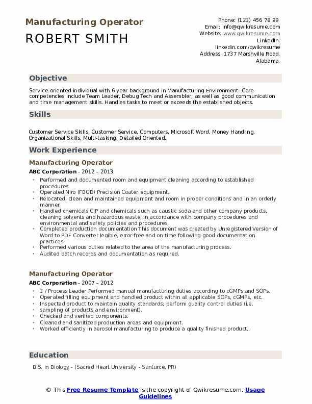 Manufacturing Operator Resume Model