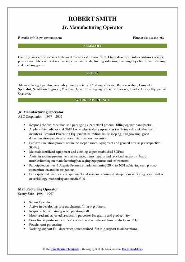 Jr. Manufacturing Operator Resume Example