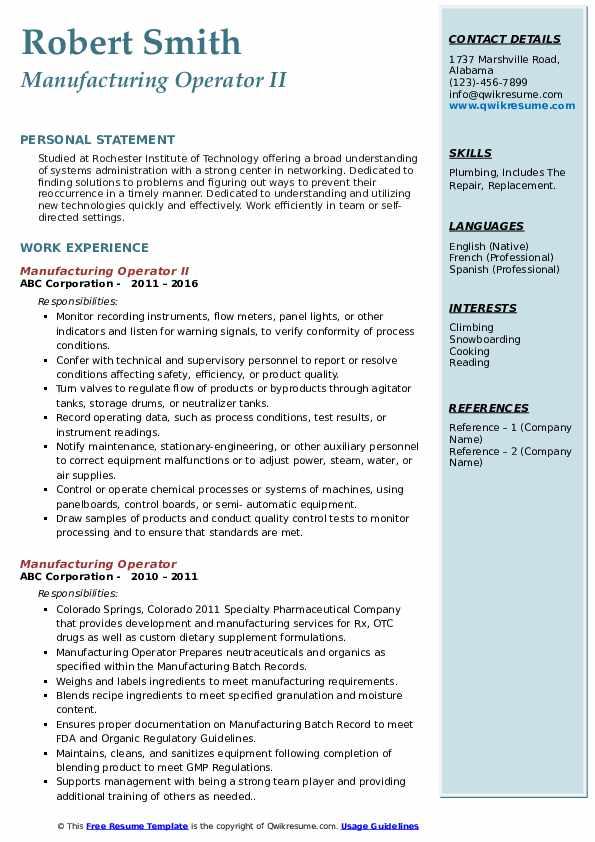 Manufacturing Operator II Resume Example