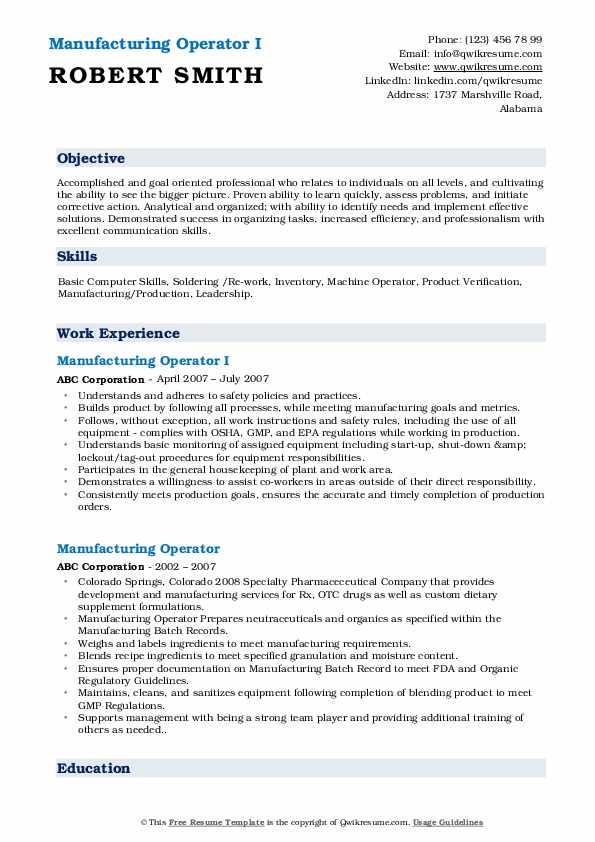 Manufacturing Operator I Resume Model