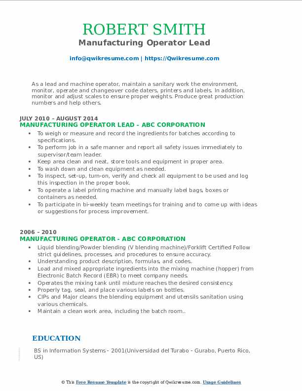 Manufacturing Operator Lead Resume Example