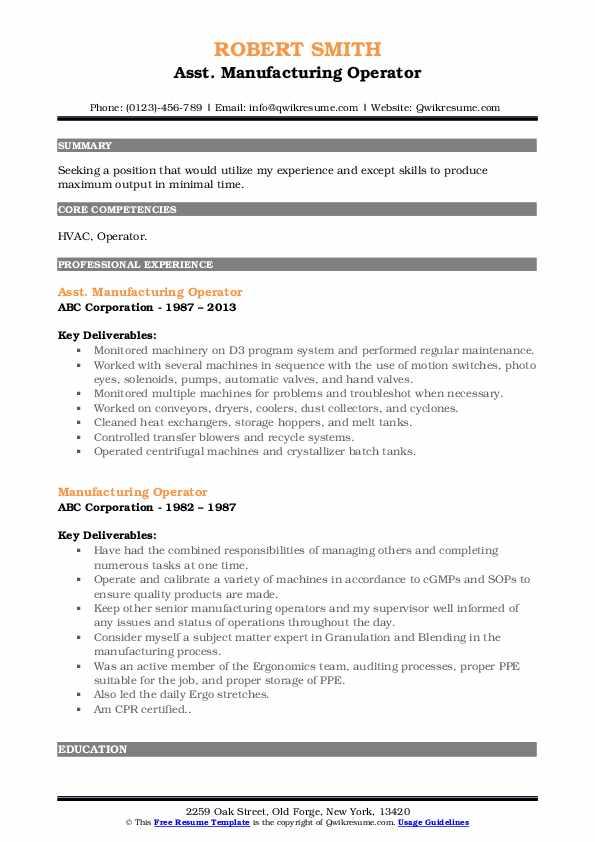 Asst. Manufacturing Operator Resume Template
