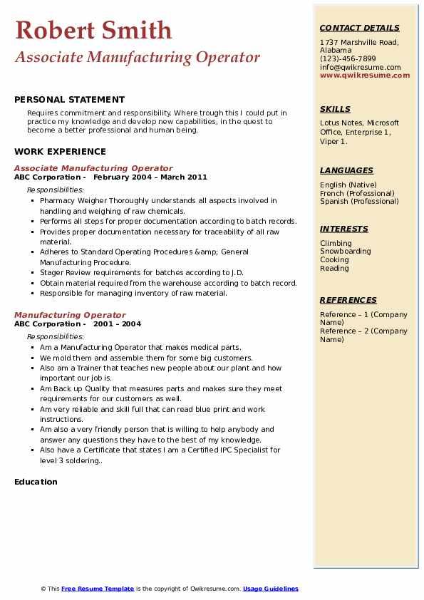 Associate Manufacturing Operator Resume Template