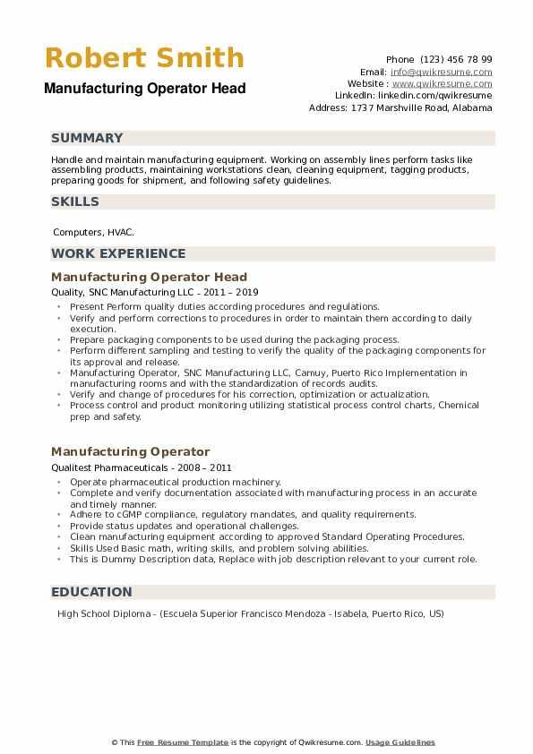 Manufacturing Operator Head Resume Template