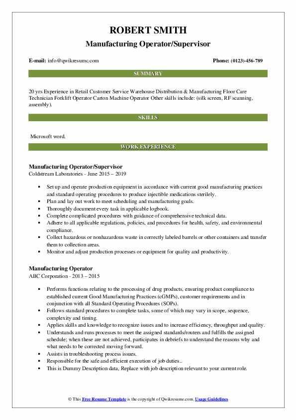 Manufacturing Operator/Supervisor Resume Template