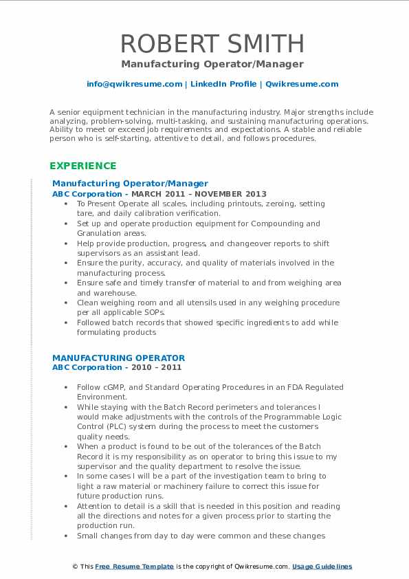 Manufacturing Operator/Manager Resume Example