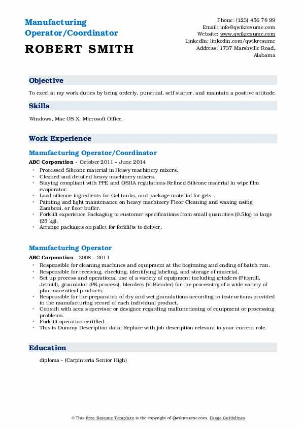 Manufacturing Operator/Coordinator Resume Format