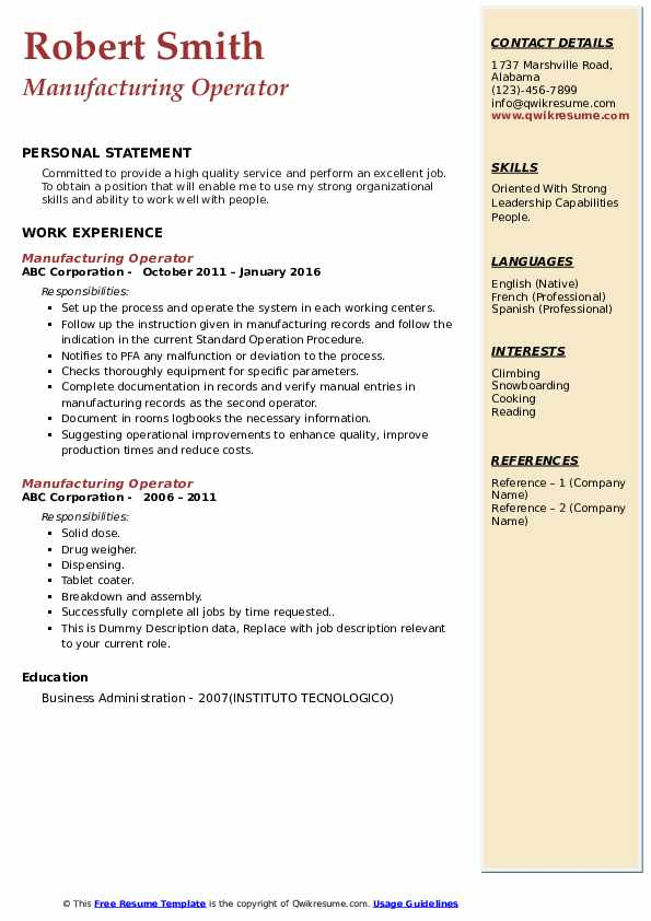 Manufacturing Operator Resume example