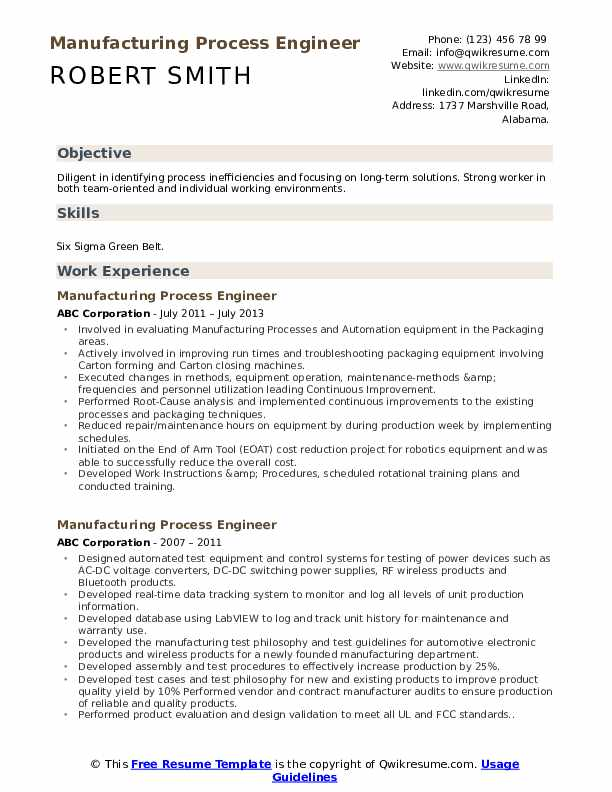 Manufacturing Process Engineer Resume Samples Qwikresume