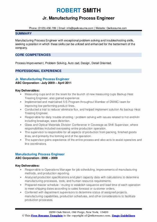 Jr. Manufacturing Process Engineer Resume Format