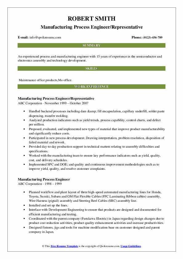 Manufacturing Process Engineer/Representative Resume Format