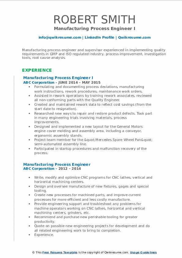 Manufacturing Process Engineer I Resume Format