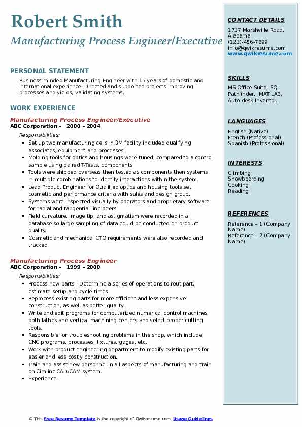 manufacturing process engineer resume samples