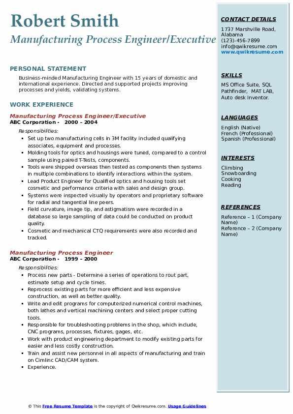 Manufacturing Process Engineer/Executive Resume Template