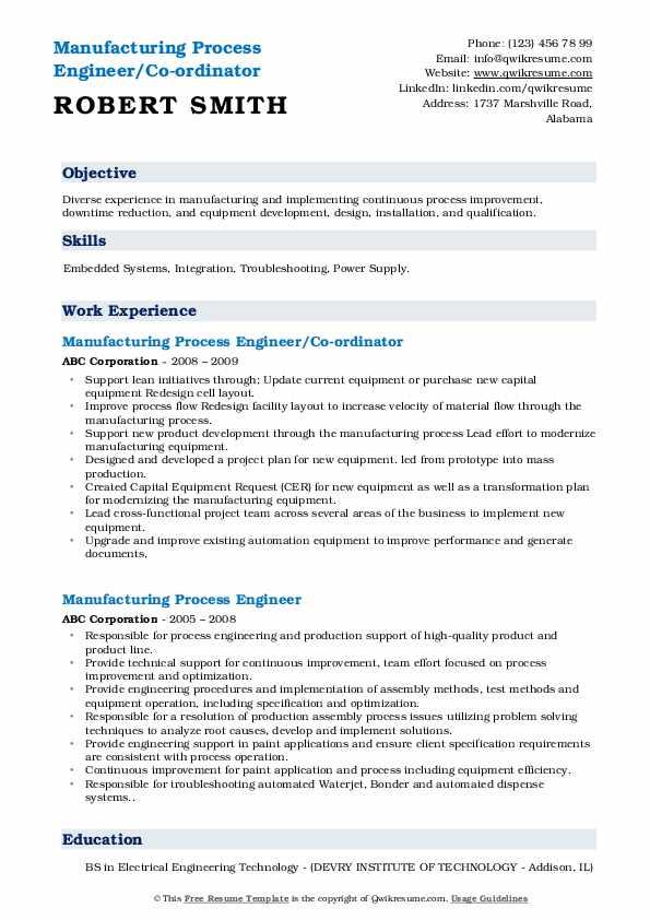 Manufacturing Process Engineer/Co-ordinator Resume Model