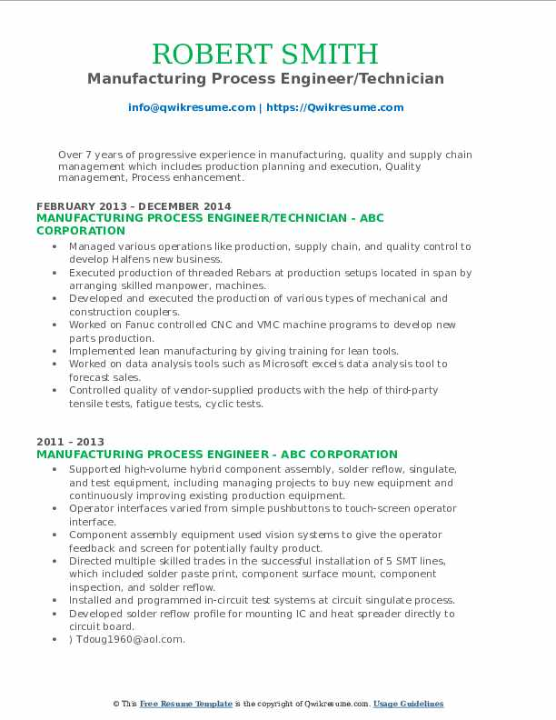 Manufacturing Process Engineer/Technician Resume Template