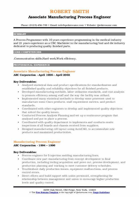 Associate Manufacturing Process Engineer Resume Model