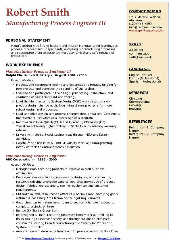 Manufacturing Process Engineer III Resume Format