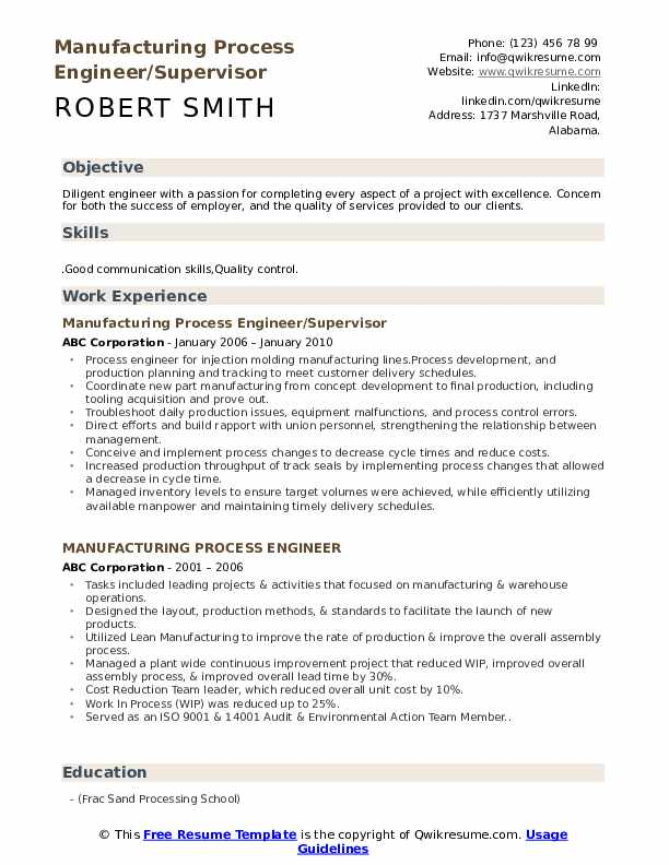 Manufacturing Process Engineer/Supervisor Resume Format