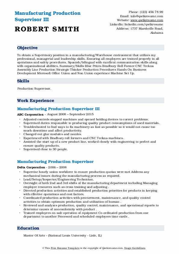 manufacturing production supervisor resume samples