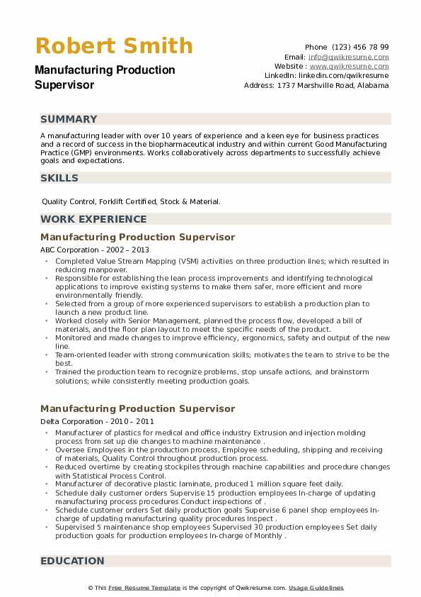Manufacturing Production Supervisor Resume example