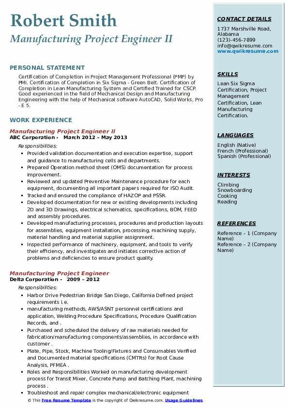 Manufacturing Project Engineer Resume Samples Qwikresume