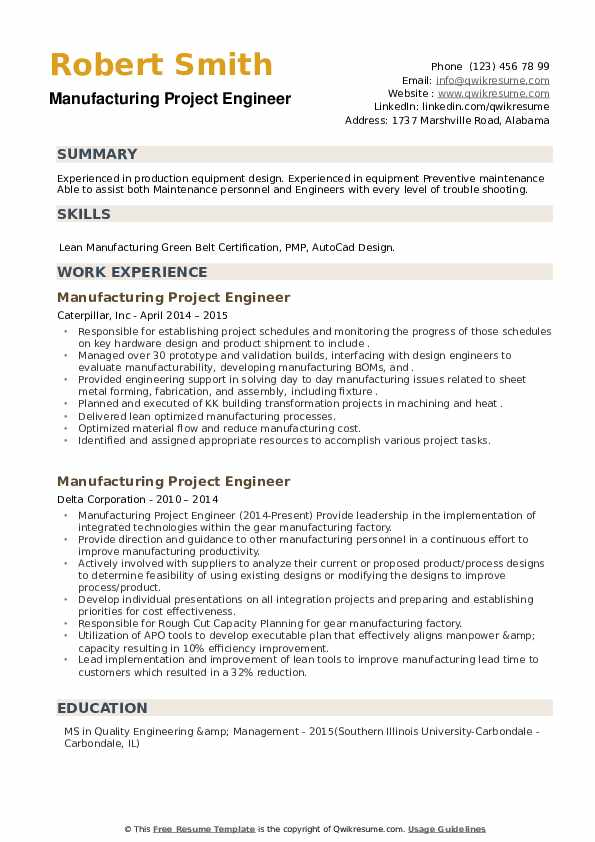 Manufacturing Project Engineer Resume example