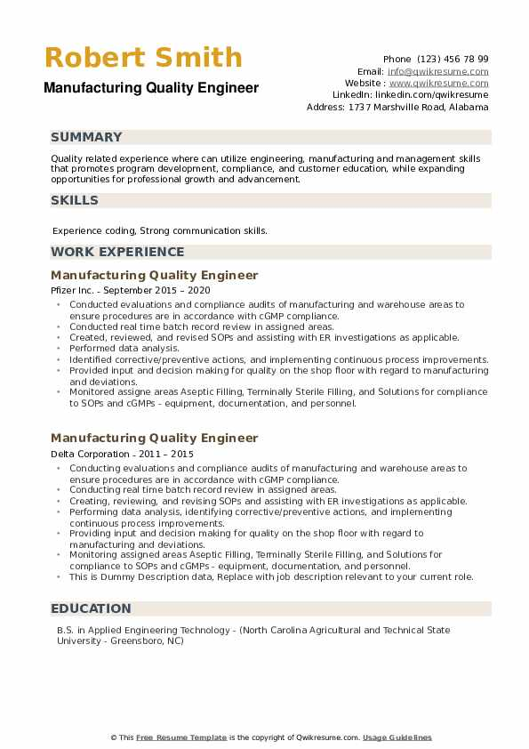 Manufacturing Quality Engineer Resume example