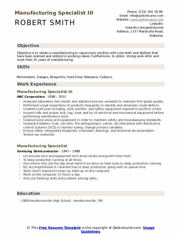 Manufacturing Specialist III Resume Template