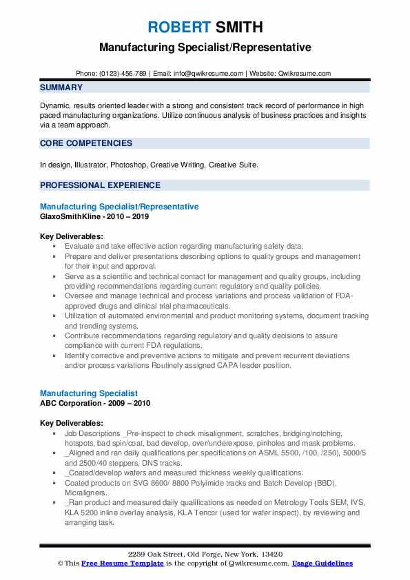 Manufacturing Specialist/Representative Resume Format