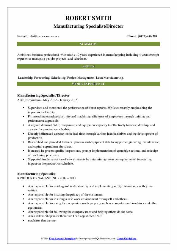Manufacturing Specialist/Director Resume Example
