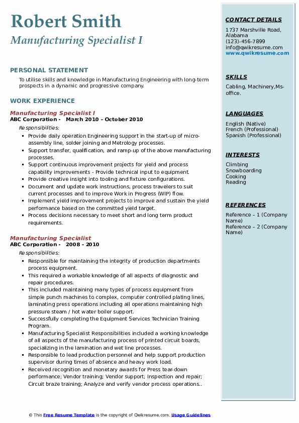 Manufacturing Specialist I Resume Example