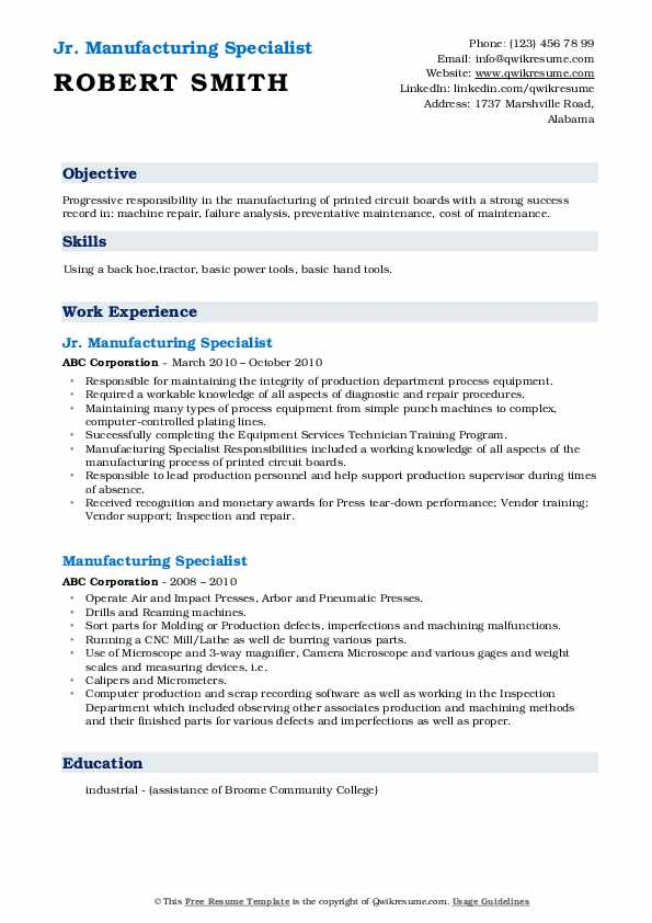 Jr. Manufacturing Specialist Resume Template