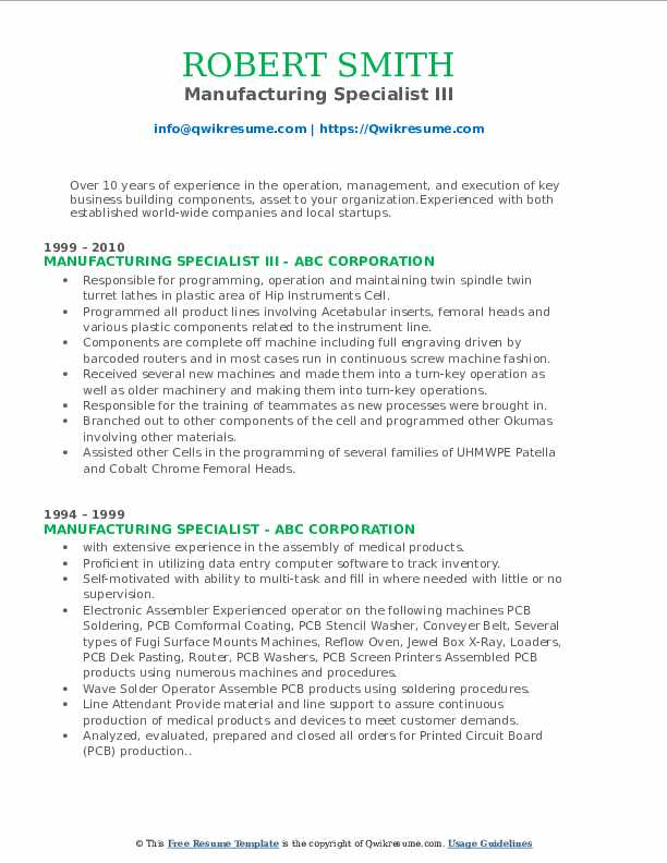 Manufacturing Specialist III Resume Example