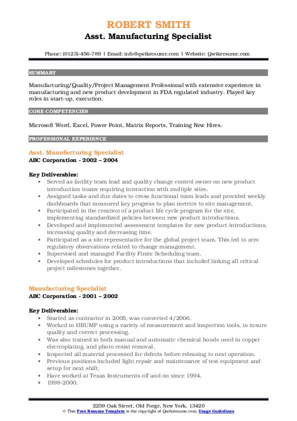 Asst. Manufacturing Specialist Resume Sample
