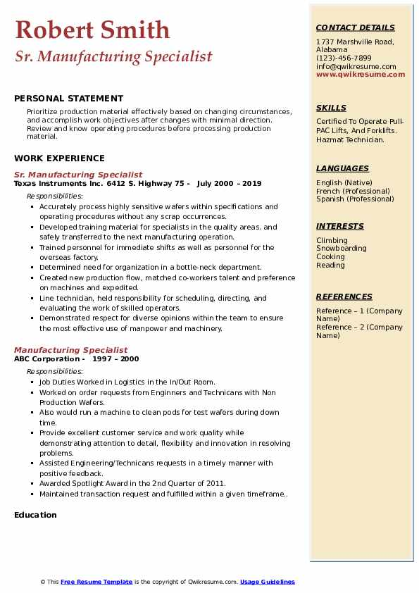 Sr. Manufacturing Specialist Resume Format