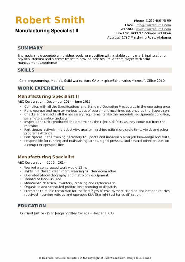 Manufacturing Specialist II Resume Example