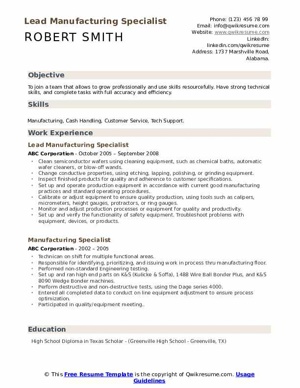 Lead Manufacturing Specialist Resume Template