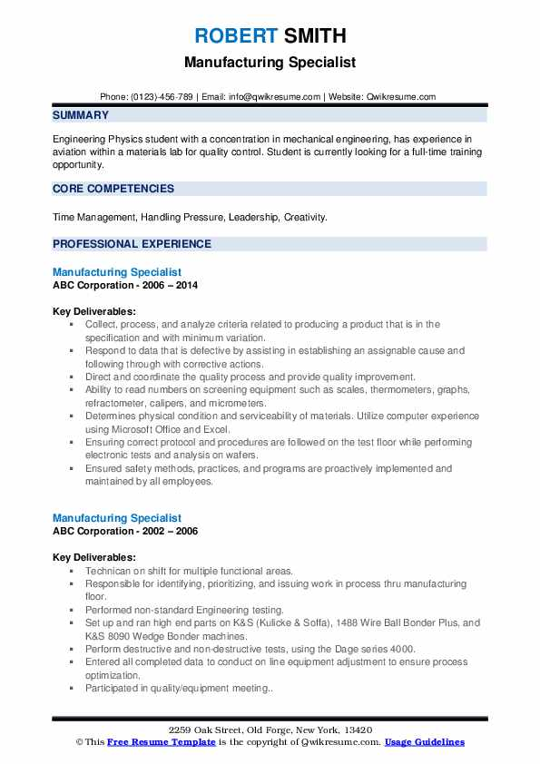 Manufacturing Specialist Resume example