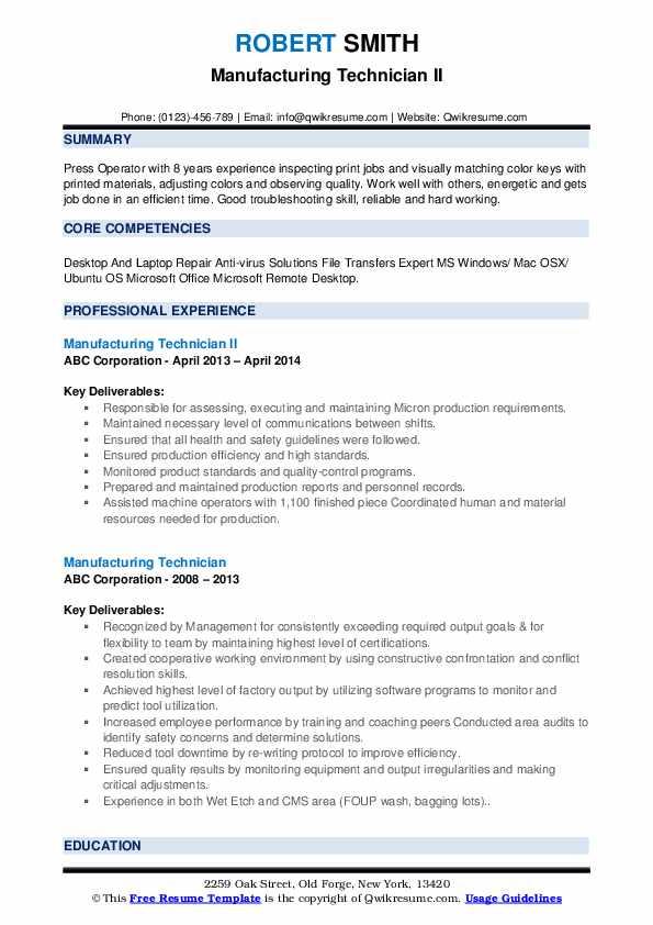 Manufacturing Technician II Resume Template