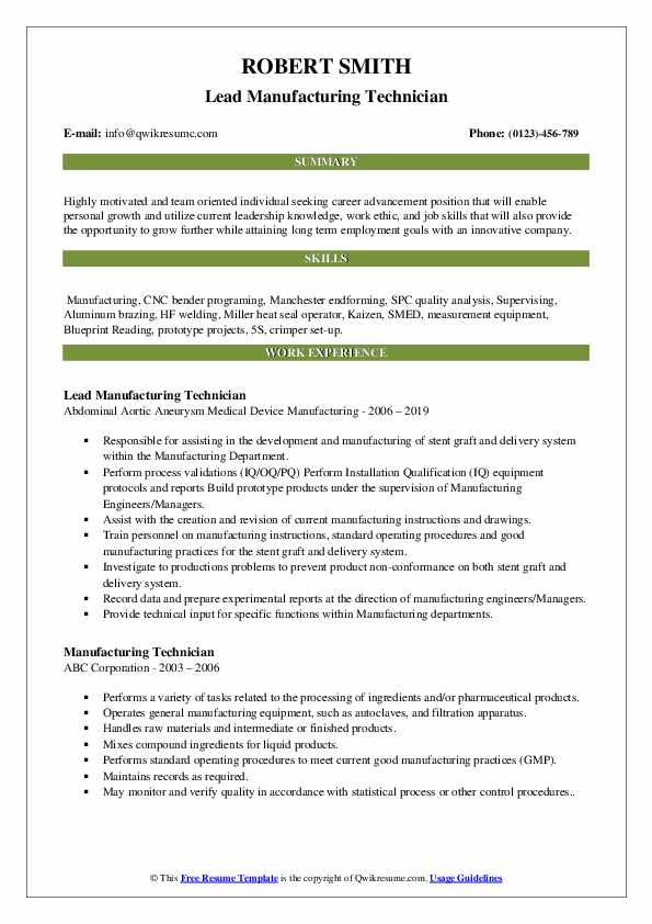 Lead Manufacturing Technician Resume Model