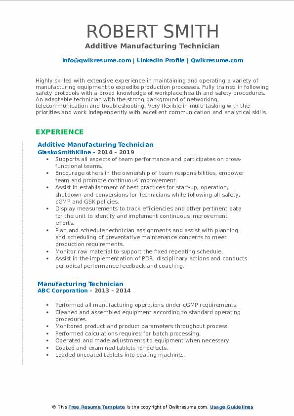 Additive Manufacturing Technician Resume Example