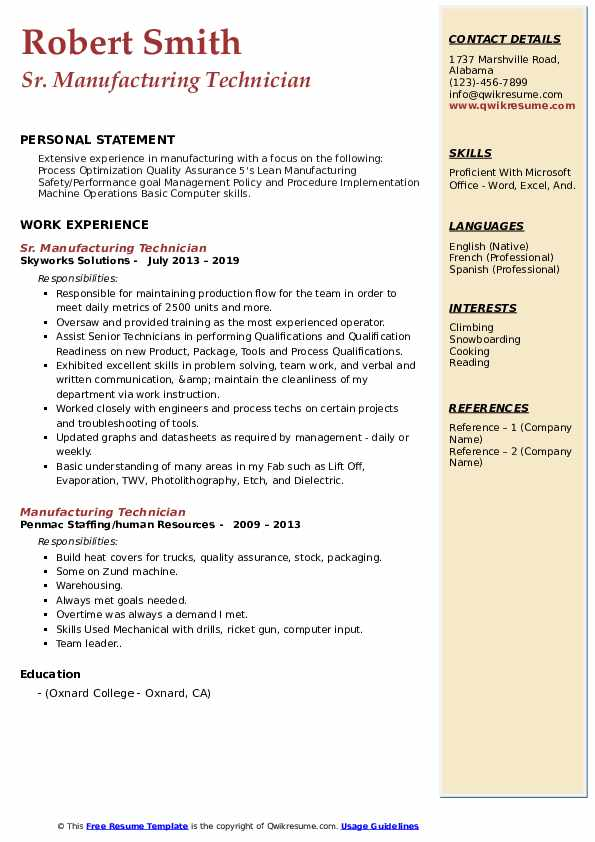 Sr. Manufacturing Technician Resume Sample