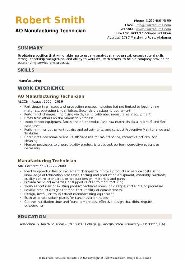 AO Manufacturing Technician Resume Example